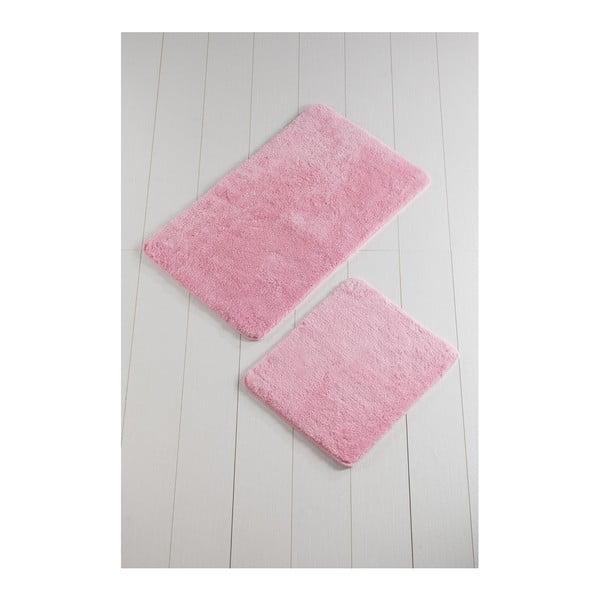 Komplet 2 różowych dywaników łazienkowych Color of Candy Pink