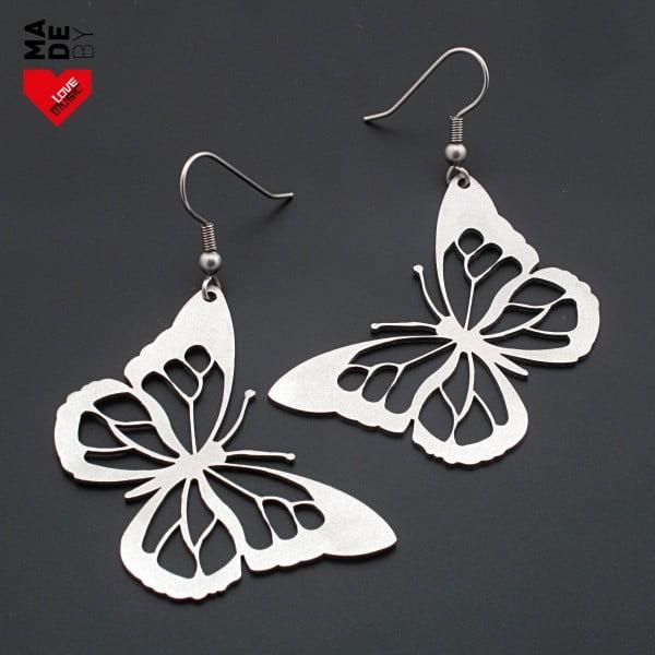 Ocelové náušnice Motýli