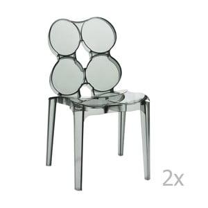 Sada 2 šedých transparentních židlí J-Line Circles