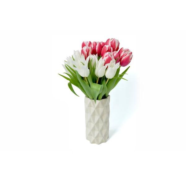 Bílo-šedá váza Hawke&Thorn,výška22cm