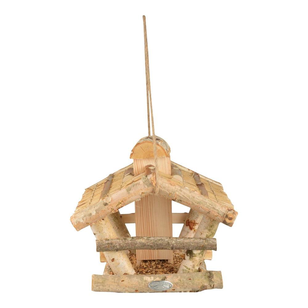 Dřevěné závěsné krmítko pro ptáky se zásobníkem Esschert Design, výška27,5cm