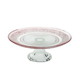 Skleněný stojan na dorty Klasik 33 cm, růžový