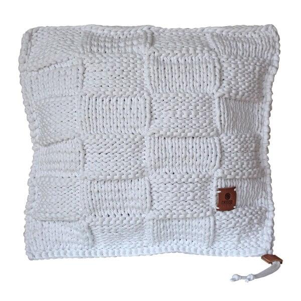 Pletený polštář Catness, bílá kostka, 50x50 cm