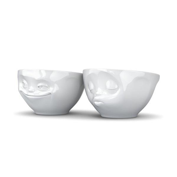 Sada 2 bílých zamilovaných misek z porcelánu 58products, objem 200 ml