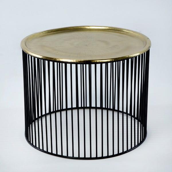Černo-zlatý odkládací stolek Thai Natura, Ø 56 x 42 cm