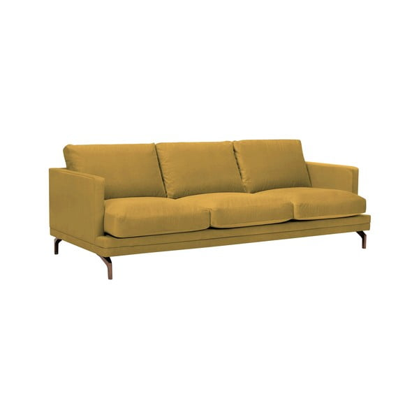 Žlutá trojmístná pohovka s podnožím ve zlaté barvě Windsor & Co Sofas Jupiter