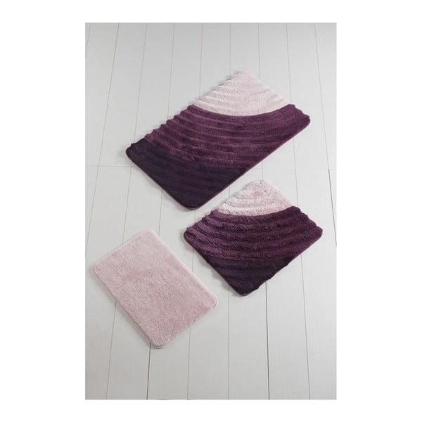 Komplet 3 fioletowych dywaników łazienkowych Well