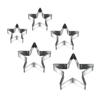 Set 5 forme pentru prăjituri în formă de stea Metaltex Cookie Cutters imagine