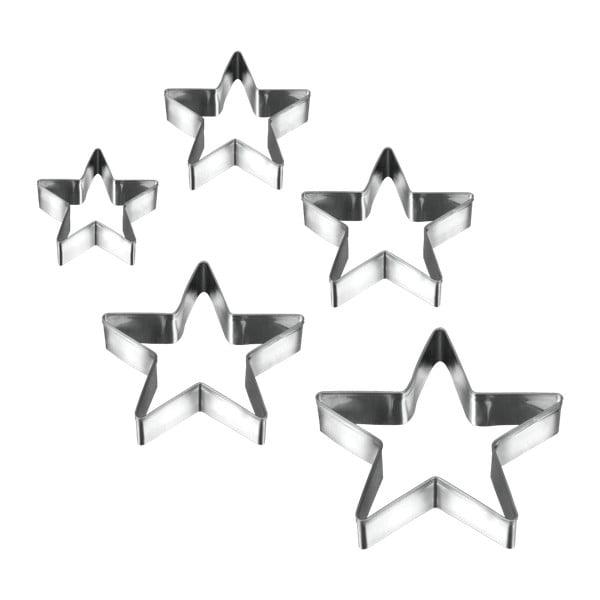 Set 5 forme pentru prăjituri în formă de stea Metaltex Cookie Cutters