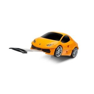 Oranžový dětský kufr na kolečkách ve tvaru auta Packenger