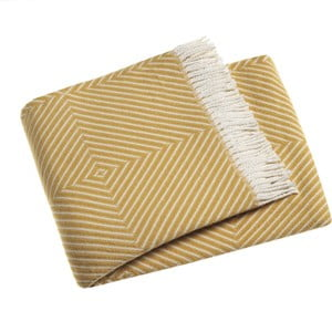 Žlutý pléd s podílem bavlny Euromant Tebas, 140x180cm