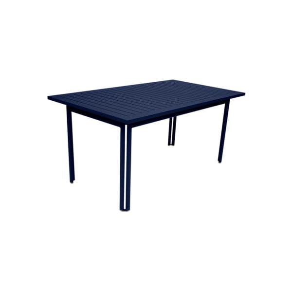 Tmavomodrý záhradný kovový jedálenský stôl Fermob Costa, 160×80 cm