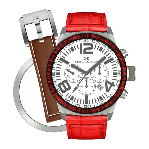 Dámské hodinky Marc Coblen s páskem a kroužkem navíc P74
