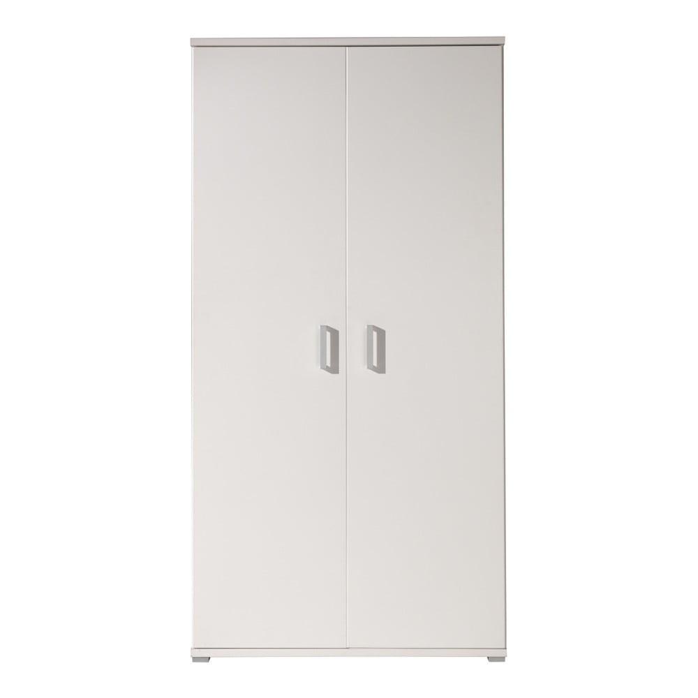 Bílá šatní skříň Vipack Milan, šířka 105 cm