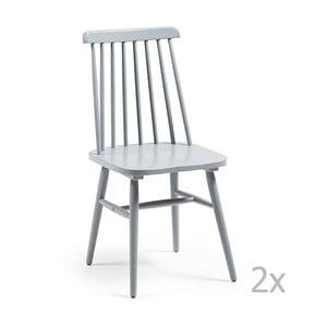 Set 2 scaune cu picioare de lemn La Forma Kristie, gri deschis