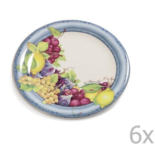 Sada 6 dezertních talířů Blue Garden, 20 cm