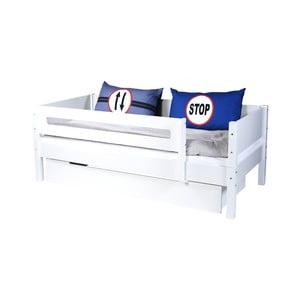 Bílá dětská postel s bezpečnostními postranními pelestmi a zásuvkou Manis-h Max, 90x200cm