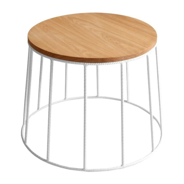 Konferenční stolek s bílou konstrukcí a deskou v dekoru dubového dřeva Custom Form Memo, ⌀50cm