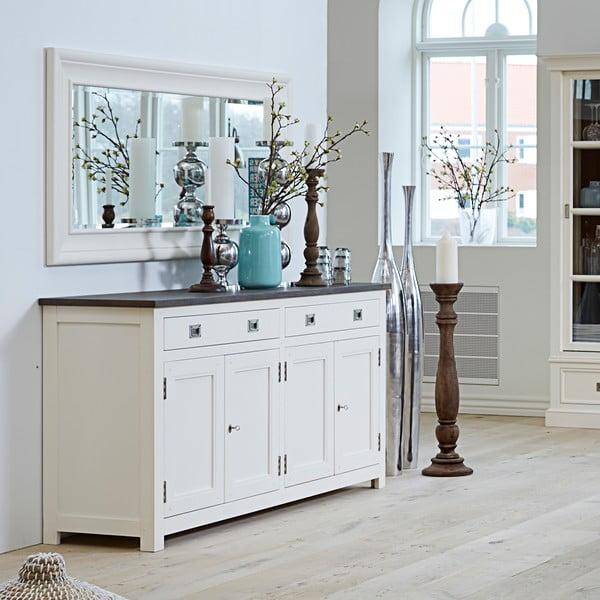 Čtyřdveřová bílá komoda Canett Skagen Sideboard, 2 zásuvky