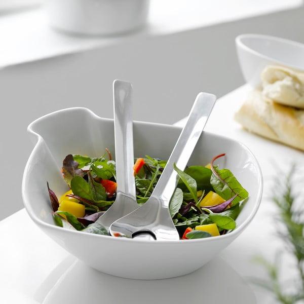 Porcelánová salátová mísa Steel Function Milano s příborem
