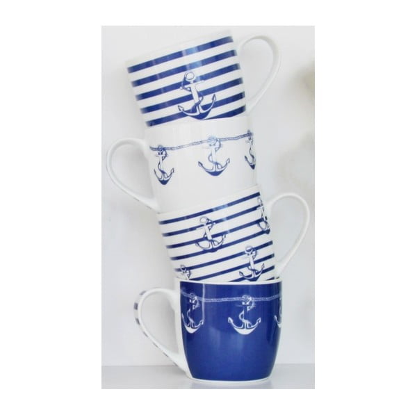 Sada 4 porcelánových hrnků Ahoy, 350 ml