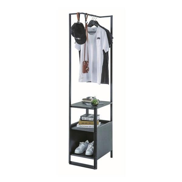 Dark Metal Bookcase Without Door fekete tároló polc
