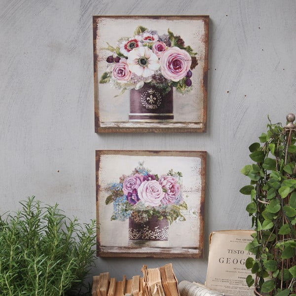 Sada 2 obrazů Pink Roses, 30x30 cm