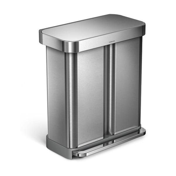 Stříbrný odpadkový koš simplehuman, 58 l