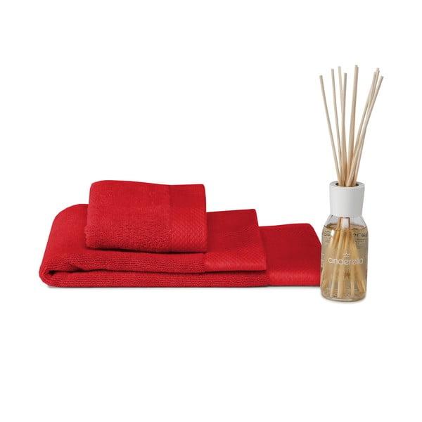 Set ručníku, předložky a difuzéru Pure Red