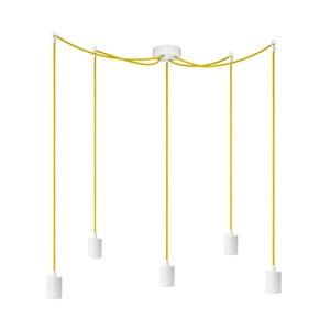 Bílé závěsné svítidlo s 5 žlutými kabely a bílými objímkami Bulb Attack Cero