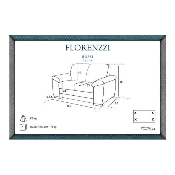 Tmavě šedá dvoumístná pohovka Florenzzi Bossi