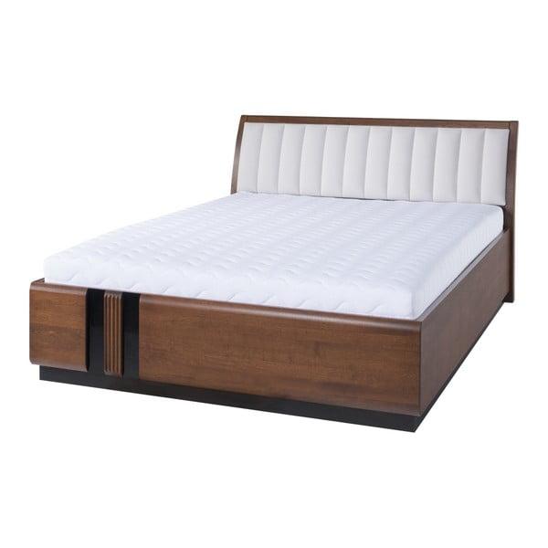 Dvojlôžková posteľ s béžovým polstrovaním Szynaka Meble Porti Dark Antique