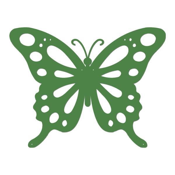 Zelená kovová nástěnná dekorace Butterfly