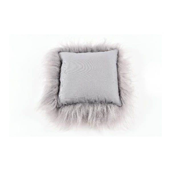 Šedý kožešinový polštář s dlouhým chlupem,35x35cm