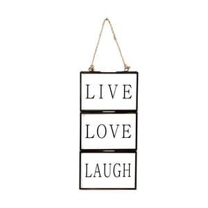 Skleněná tabulka s nápisem Live, Love, Laugh