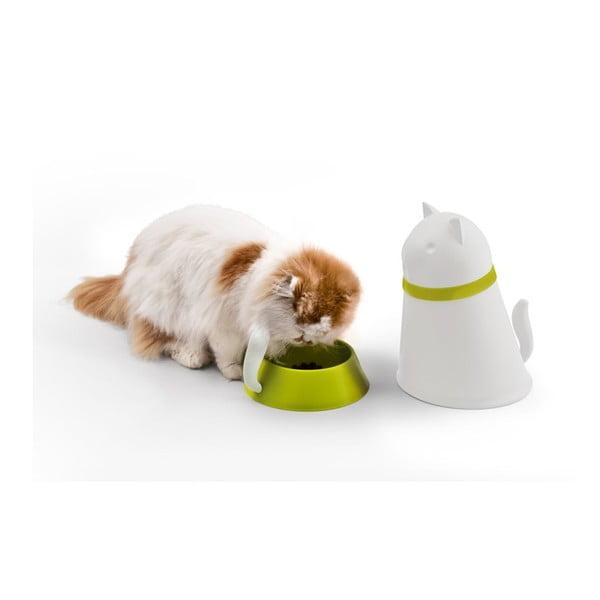 Miska se zásobníkem pro kočky QUALY Kitt, bílá