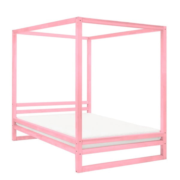 Różowe drewniane łóżko dwuosobowe Benlemi Baldee, 200x180 cm