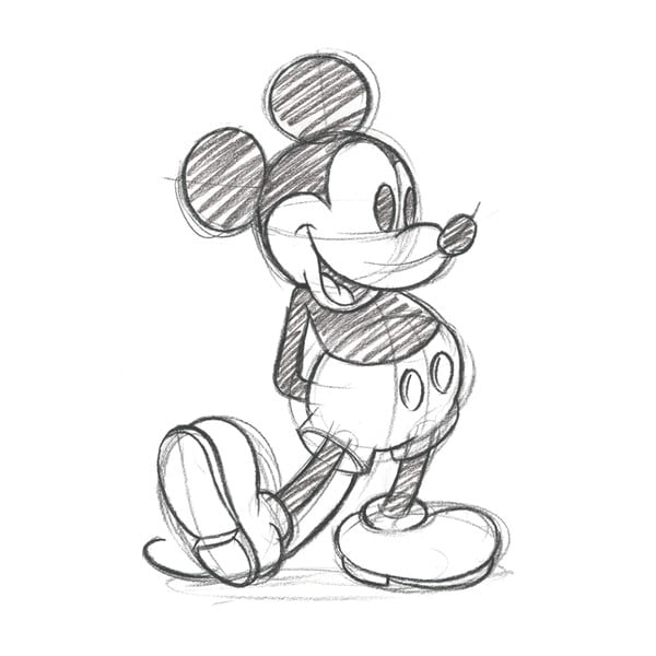Obraz Pyramid International Mickey Mouse Sketched Single, 30 x 40 cm