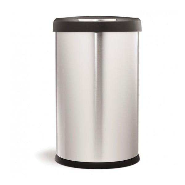 Stříbrný bezdotykový odpadkový koš simplehuman, 45 l
