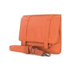 Oranžová aktovka s ramenním popruhem z italské kůže Tucano Tema