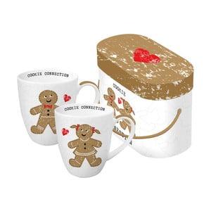 Sada 2 hrnků z kostního porcelánu s vánočním motivem v dárkovém balení PPD Cookie Connection, 350 ml