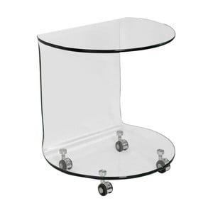 Skleněný odkládací stolek na kolečkách Evergreen House Simple