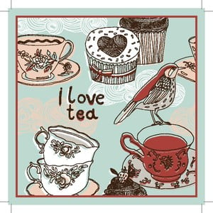 Sada 2 prostírání I Love Tea, 20x20 cm