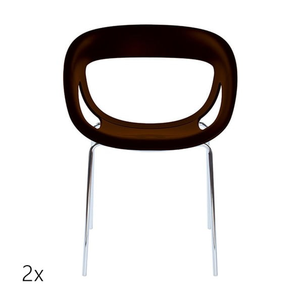 Set 2 hnědých židlí Moema, chromové nohy