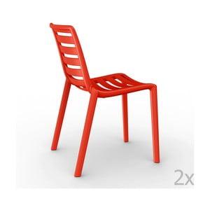 Sada 2 červených  zahradních židlí Resol Slatkat