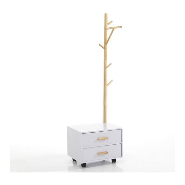 Bílý noční stolek s věšákem na levé straně Tomasucci Tree