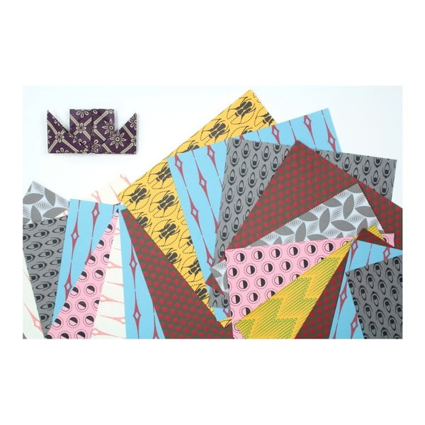 Modro-šedé origami papíry Calico