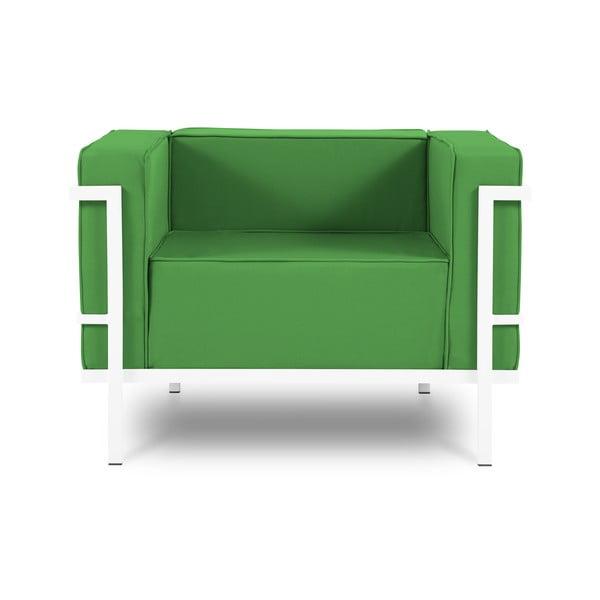Fotoliu adecvat pentru exterior Calme Jardin Cannes, verde - alb