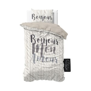 Povlečení z mikroperkálu Sleeptime Bonjour Amour, 140x220cm