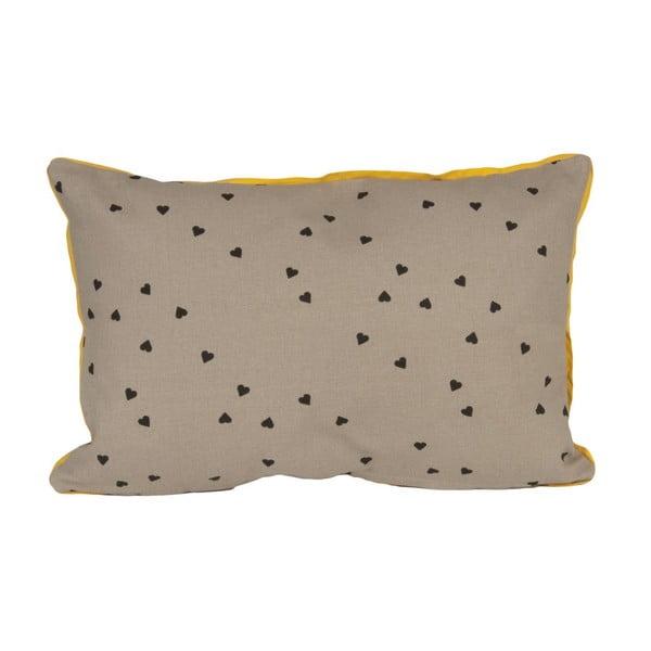 Polštář Confetti Hearts Grey, 50x30 cm
